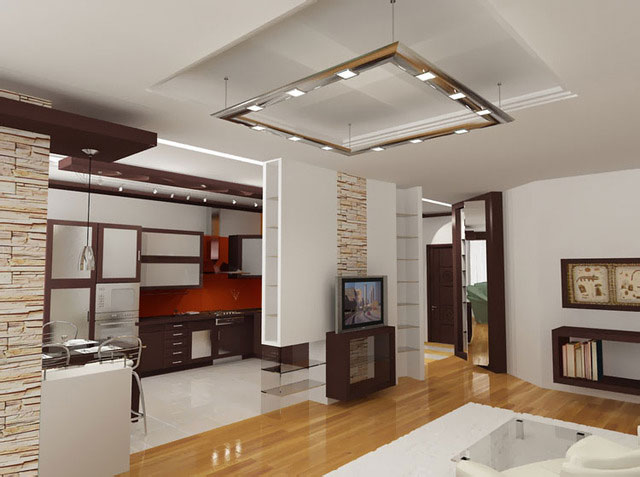 Совмещение кухни с гостиной