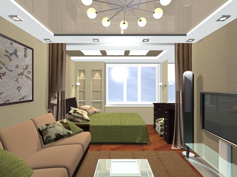 Интерьер комнаты 17 кв.м спальня гостиная фото