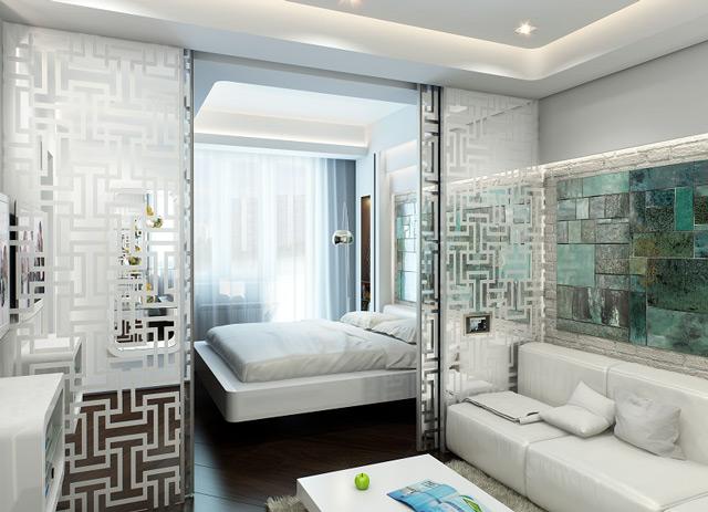 Фото дизайна гостиной совмещенной со спальней 18 кв.м