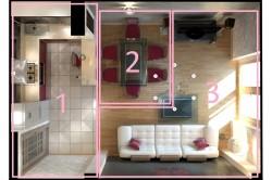 Схема распределения зон в совмещенной кухне гостиной