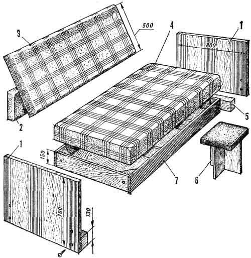 Схема сборки дивана из щитов