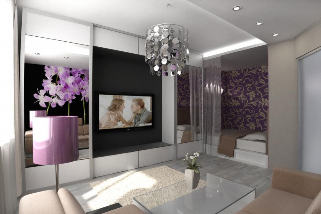 Интерьер гостиной, совмещенной со спальней