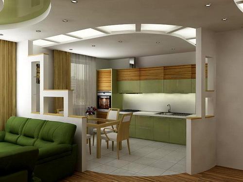 Гостиная совмещенная с кухней в частном доме фото
