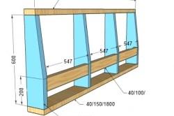 Чертеж спинки дивана с размерами