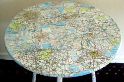 Декупаж журнального столика с помощью карты мира