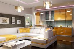 Разделение кухни и гостиной гипсокартонной перегородкой