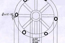 Схема изготовления светильника из колеса телеги