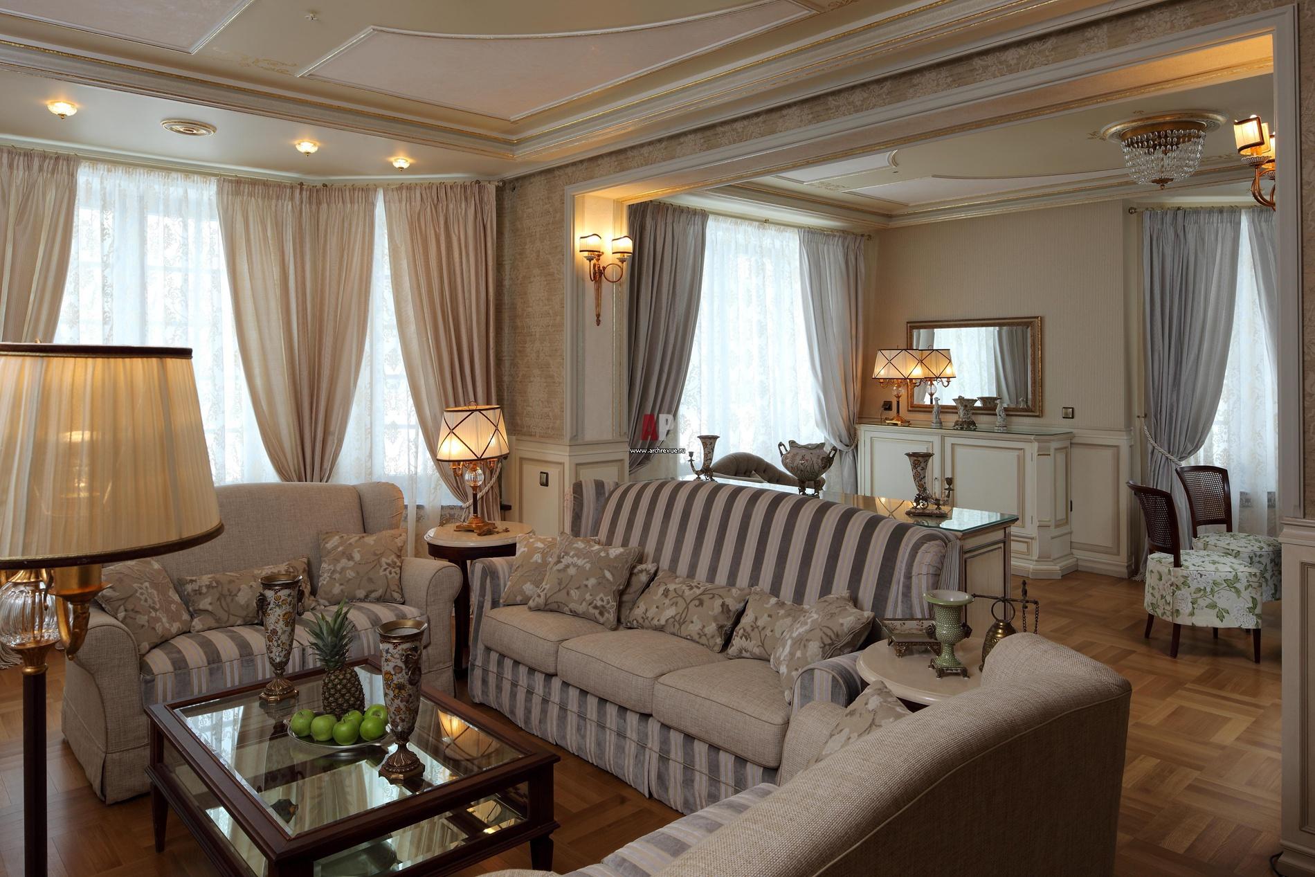 Дизайн гостиной классика современная