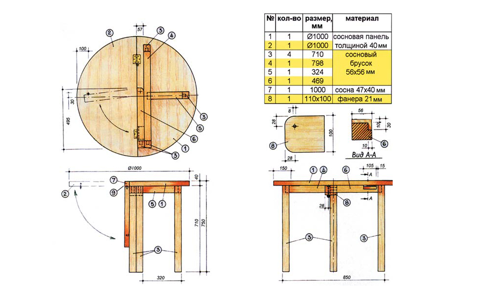 Деревянный стол схема