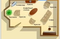 Схема общего освещения гостиной