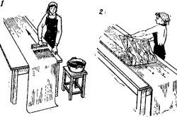 Схема правильного нанесения клея на обои
