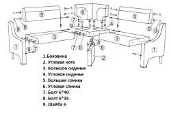 Схема сборки углового кухонного дивана