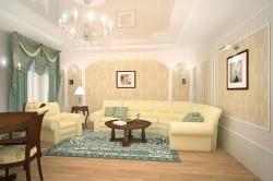 Стены в классической гостиной отделанные штукатуркой