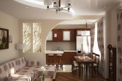 Разделение кухни и гостиной при помощи перегородки