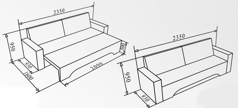 Чертеж дивана еврокнижки