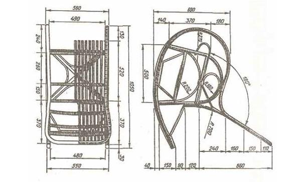 Кресло-качалка своими руками чертежи плетеные