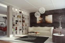 Использование стеллажа для зонирования гостиной