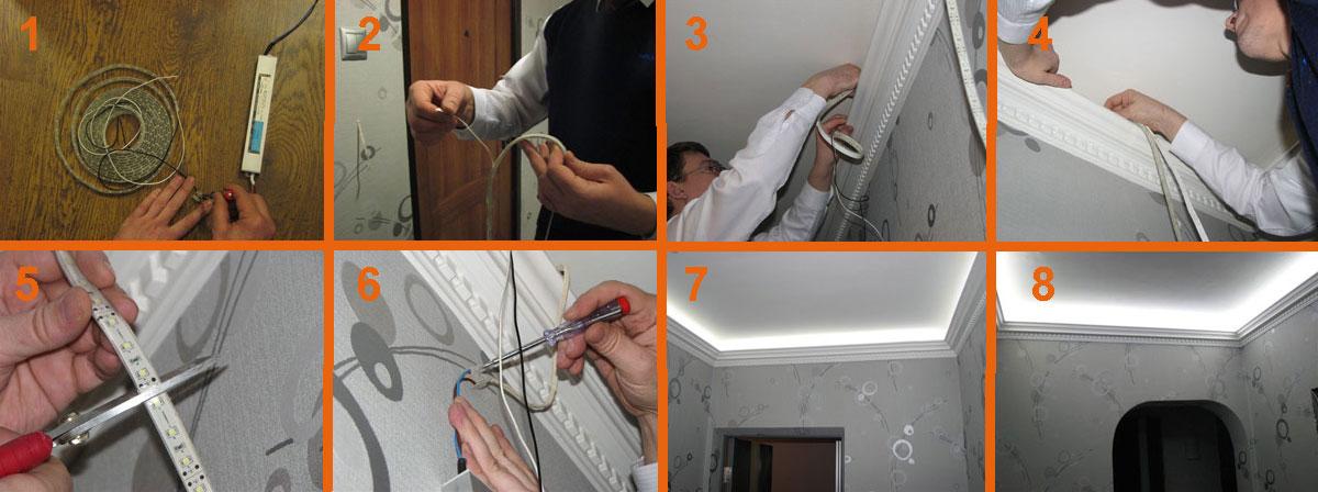 Как сделать подсветку в потолок