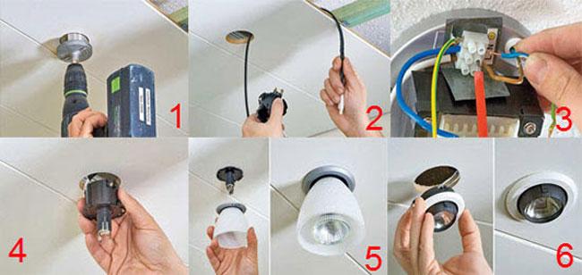 Установка своими руками точечных светильников