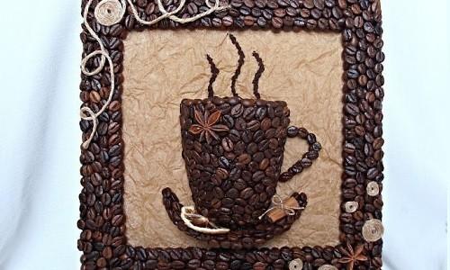 Объемная картина из кофе