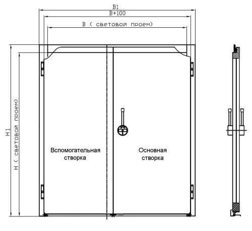 установка двустворчатой стальной двери