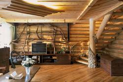 Современный интерьер дома из бревна