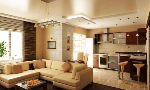 Совмещенная кухня и гостиная
