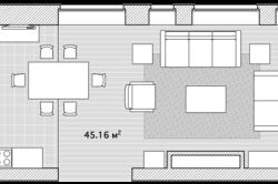 План гостиной с кухней