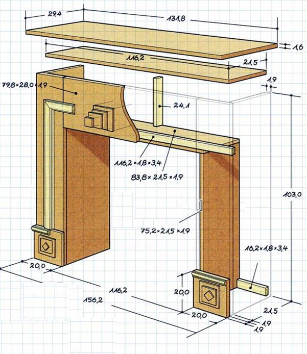 Схема отделки камина деревом