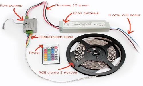 Схема подключения RGB-светодиодной ленты