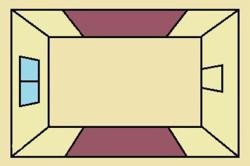 Схема стандартного комбинирования обоев в комнате
