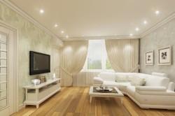 Точечные светильники в дизайне маленькой залы