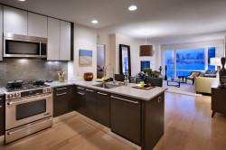 Зонирование кухни и гостиной в стиле хай-тек