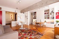 Зонирование кухни и гостиной в стиле модерн