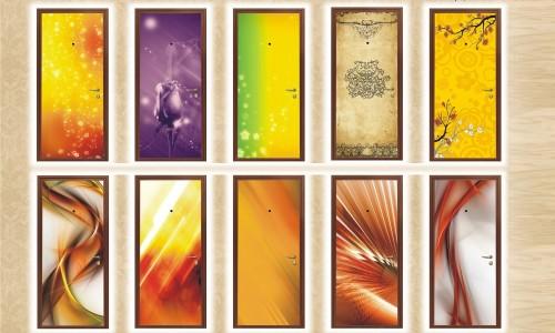 Варианты абстрактных фотообоев для декорирования двери