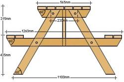 Чертеж дачного столика со скамейками