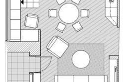 Вариант расстановки мебели в зале