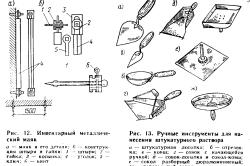 Инструмент штукатура и маяки используемые для штукатурки потолка