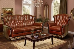 Кожаная мебель в классическом интерьере