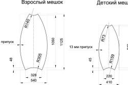 Размеры для выкройки взрослого и детского кресла