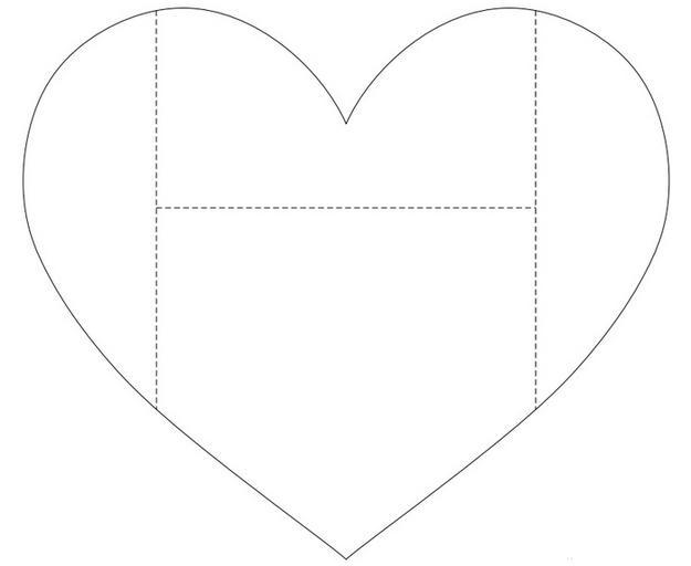 Коробочка сердечко из картона шаблон 3