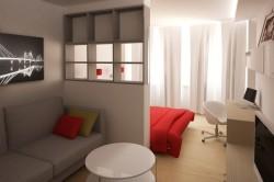 Дизайн спальни-гостиной в светлых тонах