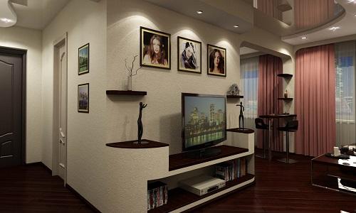 Дизайн прихожей совмещенной с гостиной