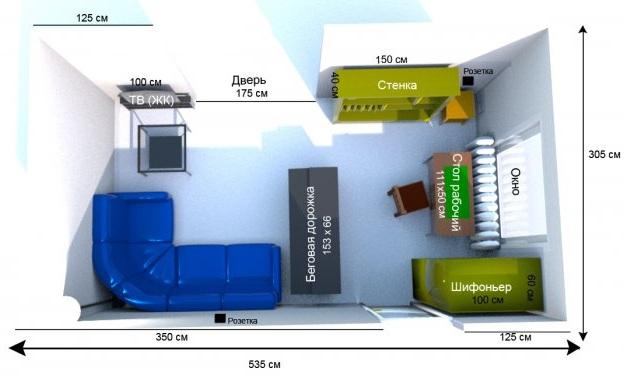 Пример расстановки мебели в