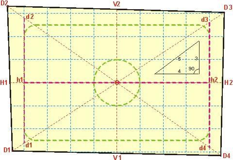 Схема разметки потолка в плане