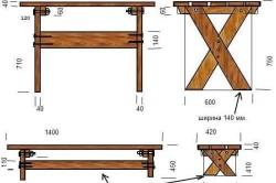 Чертеж деревянного стола