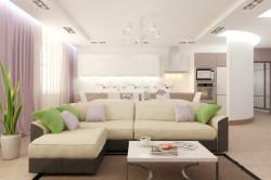 Оформление гостиной и кухни в едином стиле