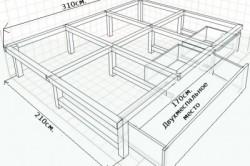Схема каркаса для подиума, под который задвигается кровать