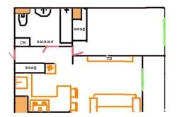 Визуальное разделение зоны кухни и гостиной