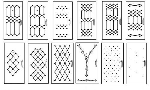 Схематичные изображения рисунков обивки входных дверей